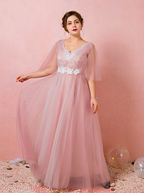 cheap Prom Dresses-A-Line Plus Size Prom Formal Evening Dress V Neck Half Sleeve Floor Length Lace Satin Tulle with Pleats Ruched Appliques 2020