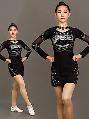 cheap Gymnastics-Cheerleader Costume Uniform Women's Girls' Kids Dress Spandex High Elasticity Handmade Long Sleeve Competition Dance Rhythmic Gymnastics Gymnastics Black