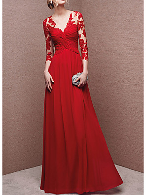 cheap Evening Dresses-A-Line Chinese Style Red Engagement Formal Evening Dress V Neck 3/4 Length Sleeve Floor Length Polyester with Appliques 2020