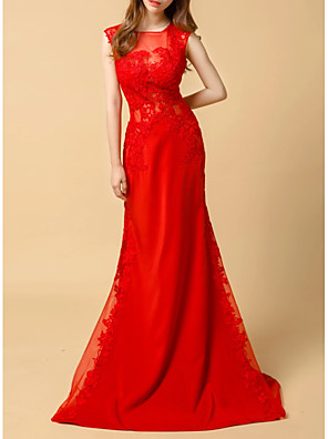 cheap Prom Dresses-Mermaid / Trumpet Elegant Red Engagement Formal Evening Dress Illusion Neck Sleeveless Sweep / Brush Train Lace Tulle with Lace Insert Appliques 2020
