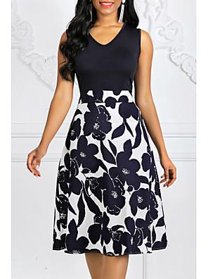 abordables Vestidos de Mujer-Mujer Tallas Grandes Azul Marino Vestido Vintage Primavera Noche Línea A Floral Estampado S M / Algodón