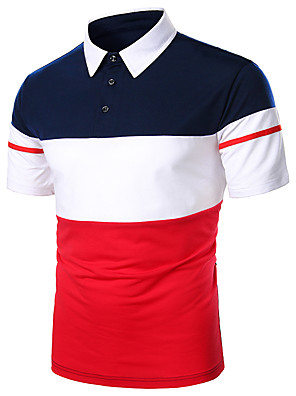 cheap Men's Tees-Men's Polo Striped Patchwork Short Sleeve Daily Tops Basic Shirt Collar Red Navy Blue / Work