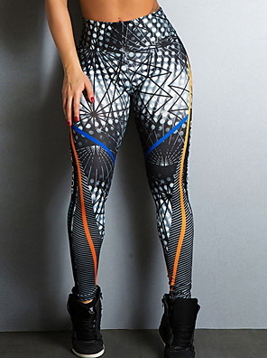 cheap Leggings-Women's Basic Legging - Geometric, Print Mid Waist Black S M L
