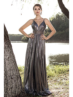 cheap Evening Dresses-A-Line Glittering Grey Party Wear Formal Evening Dress Spaghetti Strap Sleeveless Sweep / Brush Train Spandex with Criss Cross Pleats Crystals 2020