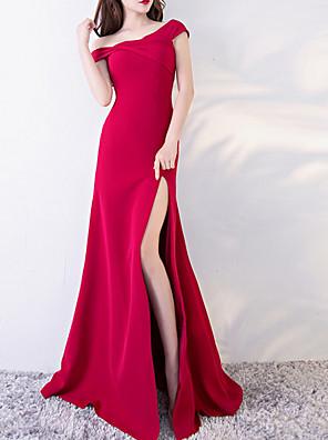 cheap Evening Dresses-Mermaid / Trumpet Elegant Red Engagement Prom Dress Off Shoulder Short Sleeve Floor Length Polyester with Split 2020