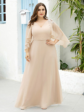 cheap Evening Dresses-A-Line Mother of the Bride Dress Elegant Plus Size V Neck Floor Length Chiffon Half Sleeve with Appliques 2020 / Butterfly Sleeve