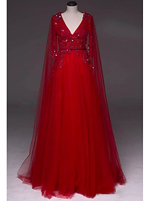 cheap Prom Dresses-A-Line Luxurious Red Engagement Formal Evening Dress V Neck Half Sleeve Sweep / Brush Train Tulle with Beading Sequin Draping 2020