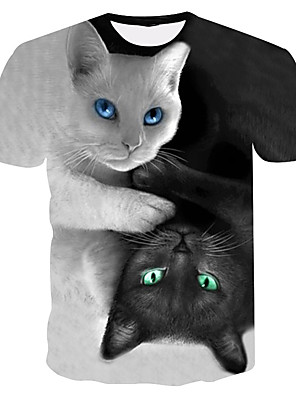 cheap Women's Blouses & Shirts-Kids Boys' Basic Street chic Cat Color Block 3D Animal Print Short Sleeve Tee Rainbow