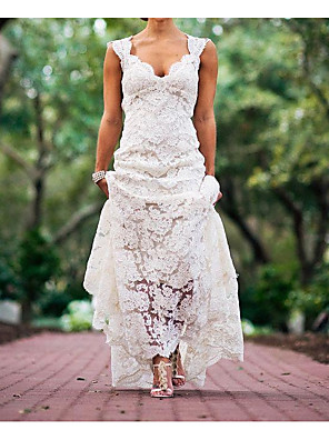 cheap Wedding Dresses-A-Line Wedding Dresses Plunging Neck Sweep / Brush Train Polyester Sleeveless Country Plus Size with Lace Insert Appliques 2020