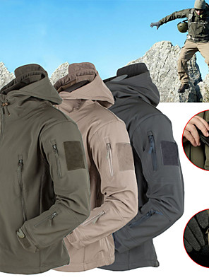 cheap Hiking Trousers & Shorts-Men's Hiking Softshell Jacket Hiking Jacket Winter Outdoor Thermal Warm Waterproof Windproof Fleece Lining Hoodie Winter Jacket Top Fleece Softshell Camping / Hiking Hunting Fishing Dark Grey / Black