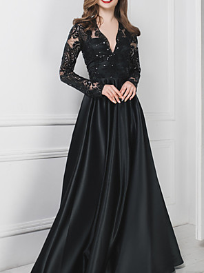 cheap Evening Dresses-A-Line Wedding Dresses V Neck Floor Length Polyester Long Sleeve Formal Plus Size Black Modern with Draping Appliques 2020