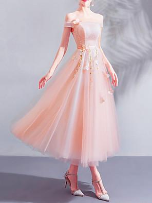 cheap Bridesmaid Dresses-A-Line Off Shoulder Ankle Length Lace / Tulle Bridesmaid Dress with Appliques
