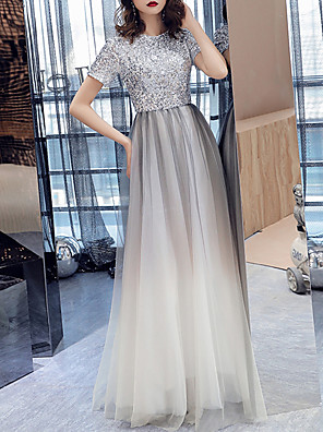 cheap Evening Dresses-A-Line Sparkle White Prom Formal Evening Dress Jewel Neck Short Sleeve Floor Length Tulle Sequined with Sequin 2020