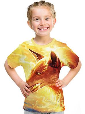cheap Girls' Dresses-Kids Girls' Active Punk & Gothic 3D Plaid Animal Short Sleeve Tee Yellow