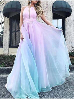 cheap Maxi Dresses-Women's Maxi Swing Dress - Sleeveless Color Block Halter Neck Light Blue S M L XL