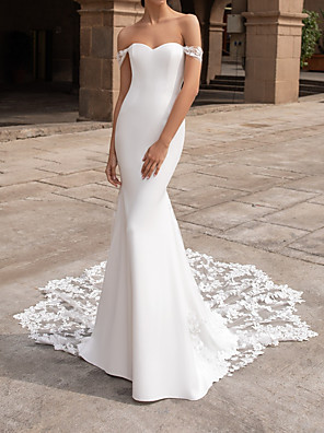 cheap Wedding Dresses-Mermaid / Trumpet Wedding Dresses Off Shoulder Court Train Polyester Short Sleeve Simple Plus Size with Lace Insert Appliques 2020