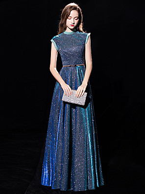 cheap Prom Dresses-A-Line Sparkle Blue Engagement Formal Evening Dress High Neck Sleeveless Floor Length Sequined with Sequin 2020