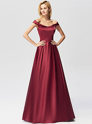 cheap Prom Dresses-A-Line Minimalist Red Engagement Prom Dress Off Shoulder Short Sleeve Floor Length Satin with Pleats 2020