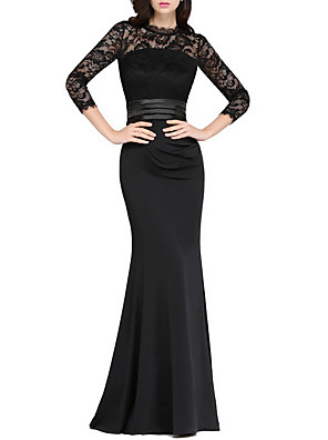 cheap Evening Dresses-Mermaid / Trumpet Elegant Black Wedding Guest Formal Evening Dress Jewel Neck 3/4 Length Sleeve Floor Length Polyester with Appliques 2020