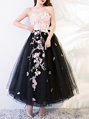 cheap Evening Dresses-A-Line Floral Black Engagement Prom Dress Strapless Sleeveless Ankle Length Polyester with Appliques 2020