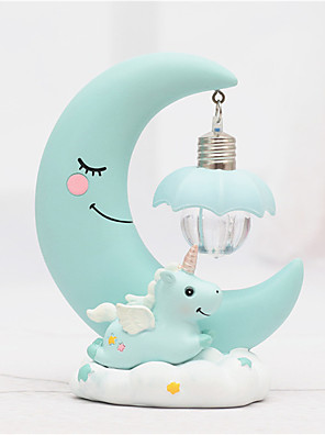cheap Quartz Watches-1PCS Resin Moon Unicorn LED Night Light Cartoon Baby Nursery Lamp Breathing Children Toy Christmas Gift Kids Room Craft Table Light In Pink / Blue Body
