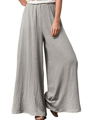cheap Women's Pants-Women's Basic Loose Cotton Wide Leg Pants - Solid Colored Wine Blue Yellow S / M / L