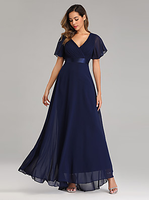 cheap Evening Dresses-A-Line Empire Blue Wedding Guest Prom Dress V Neck Short Sleeve Floor Length Chiffon with Pleats 2020