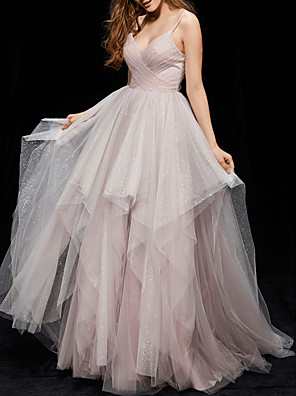 cheap Evening Dresses-Ball Gown Elegant Grey Quinceanera Prom Dress V Neck Sleeveless Floor Length Tulle with Ruched Tier 2020