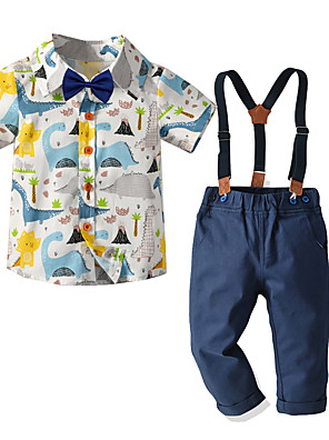 cheap Boys' Clothing Sets-Toddler Boys' Basic Birthday Party Party & Evening Dinosaur Houndstooth Print Short Sleeve Regular Regular Clothing Set Royal Blue