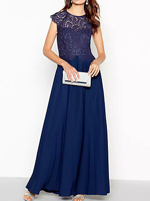 cheap Special Occasion Dresses-A-Line Empire Blue Wedding Guest Prom Dress Jewel Neck Short Sleeve Floor Length Chiffon Lace with Pleats 2020