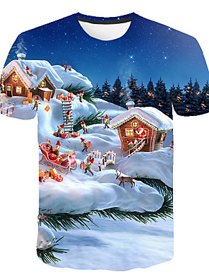 cheap Boys' Tops-Kids Boys' Basic Street chic Santa Claus Color Block 3D Christmas Print Short Sleeve Tee Rainbow