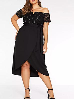 cheap Wedding Wraps-Sheath / Column Plus Size Black Party Wear Prom Dress Off Shoulder Short Sleeve Asymmetrical Polyester with Sash / Ribbon 2020