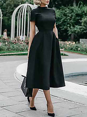 cheap Prom Dresses-Women's Swing Dress - Short Sleeve Solid Colored Elegant Slim Black S M L XL XXL