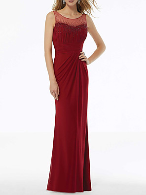 cheap Special Occasion Dresses-Sheath / Column Elegant Red Wedding Guest Formal Evening Dress Jewel Neck Sleeveless Floor Length Chiffon with Sequin Draping 2020