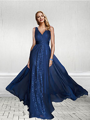 cheap Evening Dresses-Sheath / Column Empire Blue Party Wear Formal Evening Dress V Neck Sleeveless Floor Length Chiffon Sequined with Sequin Split Front 2020