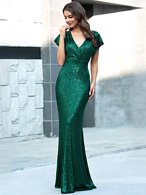 cheap Evening Dresses-Mermaid / Trumpet Sexy Sparkle Wedding Guest Formal Evening Dress V Neck Short Sleeve Floor Length Polyester with Sequin 2020