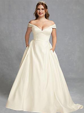 cheap Wedding Dresses-A-Line Wedding Dresses Off Shoulder Floor Length Charmeuse Regular Straps Formal Plus Size Elegant with Draping 2020