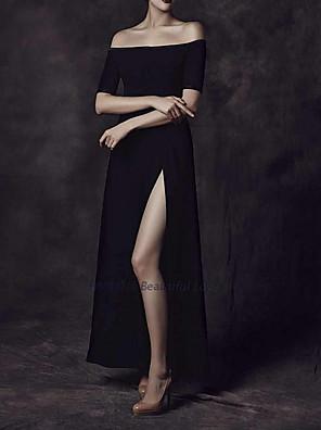 cheap Prom Dresses-Sheath / Column Minimalist Black Prom Formal Evening Dress Off Shoulder Short Sleeve Floor Length Polyester with Split 2020