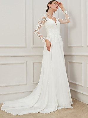 cheap Evening Dresses-Sheath / Column Wedding Dresses V Neck Sweep / Brush Train Lace Tulle Long Sleeve Formal Plus Size Illusion Sleeve with Draping Appliques 2020