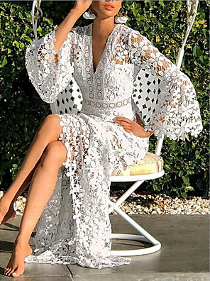cheap Women's Dresses-Women's Sheath Dress Maxi long Dress - Long Sleeve Solid Color V Neck White S M L XL XXL XXXL