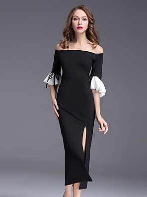cheap Evening Dresses-Sheath / Column Mother of the Bride Dress Plus Size Off Shoulder Knee Length Polyester 3/4 Length Sleeve with Cascading Ruffles 2020