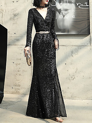 cheap Mother of the Bride Dresses-Mermaid / Trumpet Glittering Black Prom Formal Evening Dress V Neck Long Sleeve Floor Length Sequined with Sash / Ribbon Sequin 2020