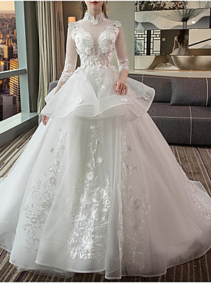 cheap Cocktail Dresses-Ball Gown Wedding Dresses High Neck Sweep / Brush Train Lace Tulle Long Sleeve Casual Red Illusion Sleeve with Lace Insert Appliques 2020