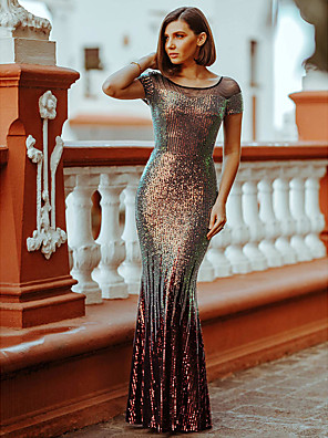 cheap Evening Dresses-Mermaid / Trumpet Sparkle Red Wedding Guest Formal Evening Dress Illusion Neck Short Sleeve Floor Length Sequined with Sequin 2020