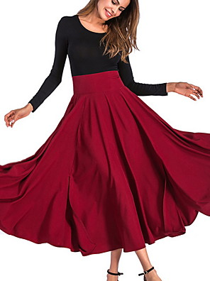 cheap Women's Skirts-Women's Daily Wear Basic A Line Skirts - Solid Colored Wine Army Green Khaki S M L