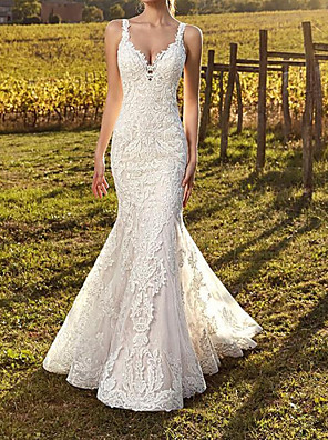 cheap Wedding Dresses-Mermaid / Trumpet Wedding Dresses Spaghetti Strap Sweep / Brush Train Polyester Sleeveless Country Plus Size with Appliques 2020