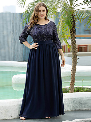 cheap Evening Dresses-A-Line Mother of the Bride Dress Elegant Plus Size Jewel Neck Floor Length Tulle Sequined 3/4 Length Sleeve with Sequin 2020