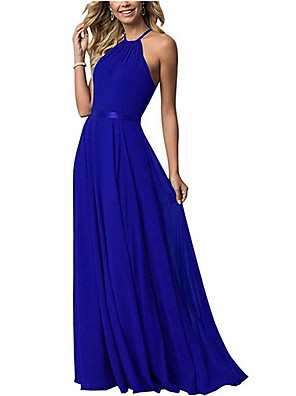 cheap Bridesmaid Dresses-A-Line Halter Neck Floor Length Chiffon Bridesmaid Dress with Tier