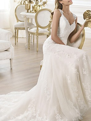 cheap Wedding Wraps-Mermaid / Trumpet Wedding Dresses V Neck Sweep / Brush Train Lace Sleeveless Beach with Lace Insert Embroidery 2020
