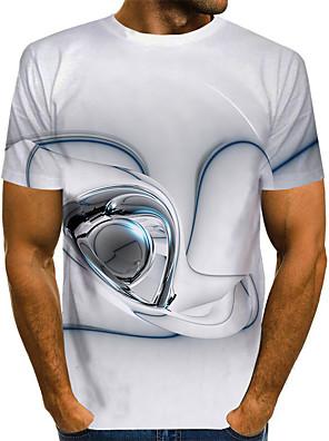 cheap Men's Tees-Men's T shirt Graphic Plus Size Short Sleeve Daily Tops Basic White